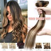 Double Weft 100 Clip In Remy Human Hair Extensions Full Head Thick Mix Brown Us