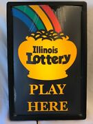 Illinois Lottery Lighted Retail Sign, Plastic Case, 8 Foot Cord Working Vintage