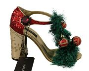 Dolce And Gabbana Shoes Gold Leather Crystal Christmas Sandals Eu40.5 / Us10 2200