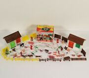 2 Vintage Miniature Plastic Hut Educational And Funny Toy Barn And Farm Animal Toy
