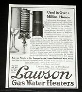 1918 Old Magazine Print Ad, Lawson Gas Water Heaters, Used In A Million Homes