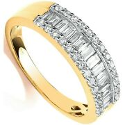 Certificated Diamond Eternity Ring Baguette And Brilliant 18k Gold Large Sizes R-z
