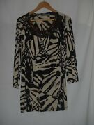 Size 3 16-18 Chicos Travelers Womens Beaded Knit Top Black Brown Cream Slinky