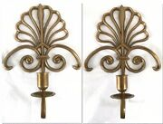 """Vintage Pair Solid Brass Scalloped Shell Candlestick Holder Wall Sconces 12"""""""