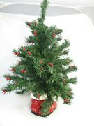 Vintage Artificial Table Top Christmas Tree In Santa Boot Holder About 22 Tall
