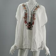 Nwt 205 Johnny Was Natural Embroidered Hanjin Linen Blouse