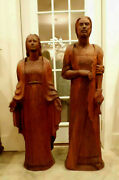 Lg Church Religious Statue Artist Carved Wood Virgin Mary And St Joseph 49-54h