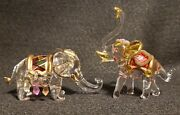 Vintage Pair Of Hand Blown And Painted Clear Glass Elephants With Gold And Jewels