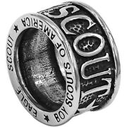 Eagle Scout Ring Silver Bsa Boy Scout Wolf Cub Venture Stainless Steel Size 7-13
