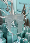 Tiffanyandco Crystal Present Frosted Bow Ornament Christmas Holiday W Box 1993