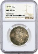 1949 50c Franklin Silver Half Dollar Ngc Ms66 Fbl Full Bell Lines Coin 145
