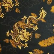 Chinese Dragons Black Gold Metallic 100 Cotton Fabric By The Yard