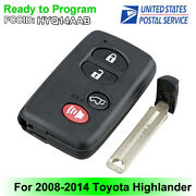 Replacement For 2008 - 2014 Toyota Highlander Smart Prox Key 4b Hyq14aab