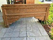 Antique Carved Teak Architectural 18 Century Welcome Gate Header Rustic Bench