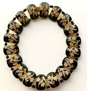 Rare William Delillo Gold Etched On Enamel Gold Plated Brass Panel Bib Necklace