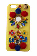 Dolce And Gabbana Phone Case Cover Yellow Leather Crystals Studs Iphone 6 Rrp 760