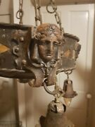 Antique Cast Iron Hammered Tin Electric Chandelier Rare Gothic/roman Cast Busts