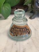 Vintage 1890's Carters Black Lette Ink Well Glass Bottle Usa Teal Cone W/ Label
