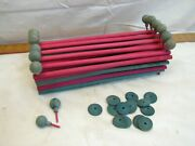Vintage Wooden Ball Top Toy Doll House Fence Feather Tree Fencing Set Christmas