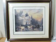 Thomas Kinkade Placerville Victorian Christmas Double Signed 496/1950