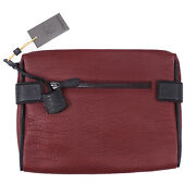 Canali Burgundy Textured Grained Leather Laptop Travel Case Nwt 875 Bag