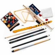 30 Piece Billiards Accessories Kit For Your Pool Table - Balls, Cues, Triangle