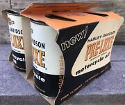 Vintage 50and039s Harley Davidson 4 Qt Metal Oil Can Full Pre Luxe Oil Premium Deluxe