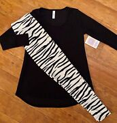 Nwt Lularoe Outfit Os Black And White Tiger Zebra Stripes Leggings And Xs Lynnae Top