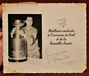 Rare 50and039s Jacques Plante Montreal Canadiens Stanley Cup Signed Christmas Card