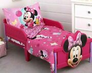 Disney Minnie Mouse 4 Piece Toddler Bed Set Quilt Sheets Pillowcase Girl Pink