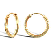 9ct Yellow Gold Hoop Style Earrings British Made Hallmarked 15.04mm