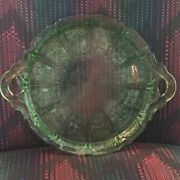 Jeannette Cherry Blossom Green Depression Glass Handled Tray Plate Vintage