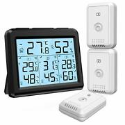 Digital Thermometer Hygrometer With 3 Sensors, Indoor/outdoor Humidity, Weather