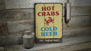 Hot Crabs And Cold Beer Novelty Distressed Sign Personalized Wood Sign