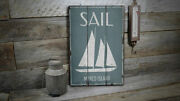 Sail Vintage Distressed Sign, Personalized Wood Sign