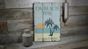 On Beach Time Sunset Novelty Distressed Sign Personalized Wood Sign