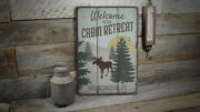 Welcome To Our Cabin Retreat Vintage Distressed Sign, Personalized Wood Sign