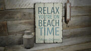 Relax On Beach Time Vintage Distressed Sign, Personalized Wood Sign
