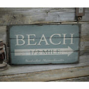 Beach Half Mile Arrow Rustic Distressed Sign Personalized Wood Sign