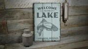 Welcome To The Lake Fish Vintage Distressed Sign, Personalized Wood Sign
