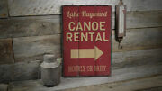 Lake Name Canoe Rental Vintage Distressed Sign Personalized Wood Sign