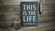This Is The Life Lake Vintage Distressed Sign, Personalized Wood Sign