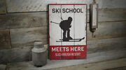 Ski School Meets Here Vintage Distressed Sign, Personalized Wood Sign