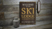 Ski Lodge Welcome Vintage Distressed Sign, Personalized Wood Sign