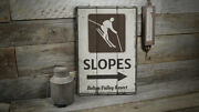 Slopes Arrow Vintage Distressed Sign, Personalized Wood Sign