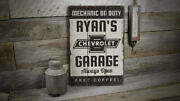 Chevy Garage Vintage Distressed Sign, Personalized Wood Sign