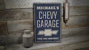 Chevy Logo Garage Vintage Distressed Sign, Personalized Wood Sign