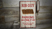 Rib Guy Parking Vintage Distressed Sign, Personalized Wood Sign