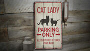 Cat Lady Parking Novelty Distressed Sign, Personalized Wood Sign