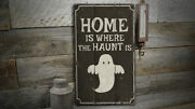 Ghost Home Rustic Distressed Sign Personalized Wood Sign